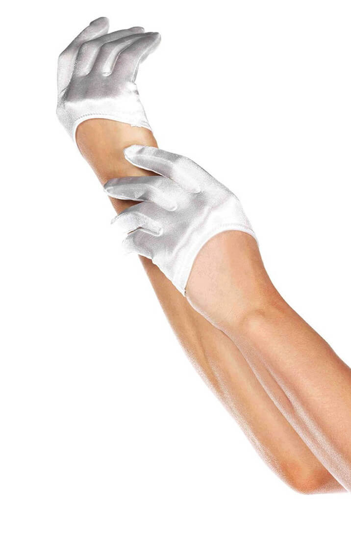 White mini cropped satin gloves