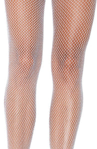 White fishnet pantyhose with silver glitter