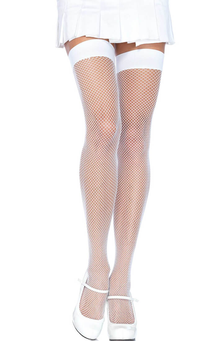 White fishnet thigh highs