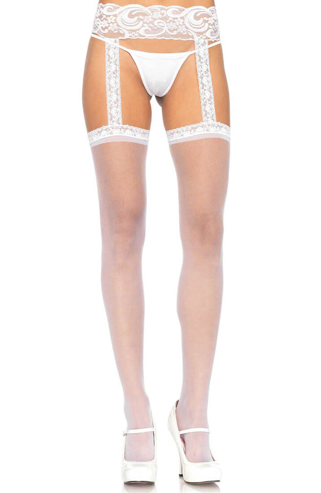 White pantyhose with garter belt