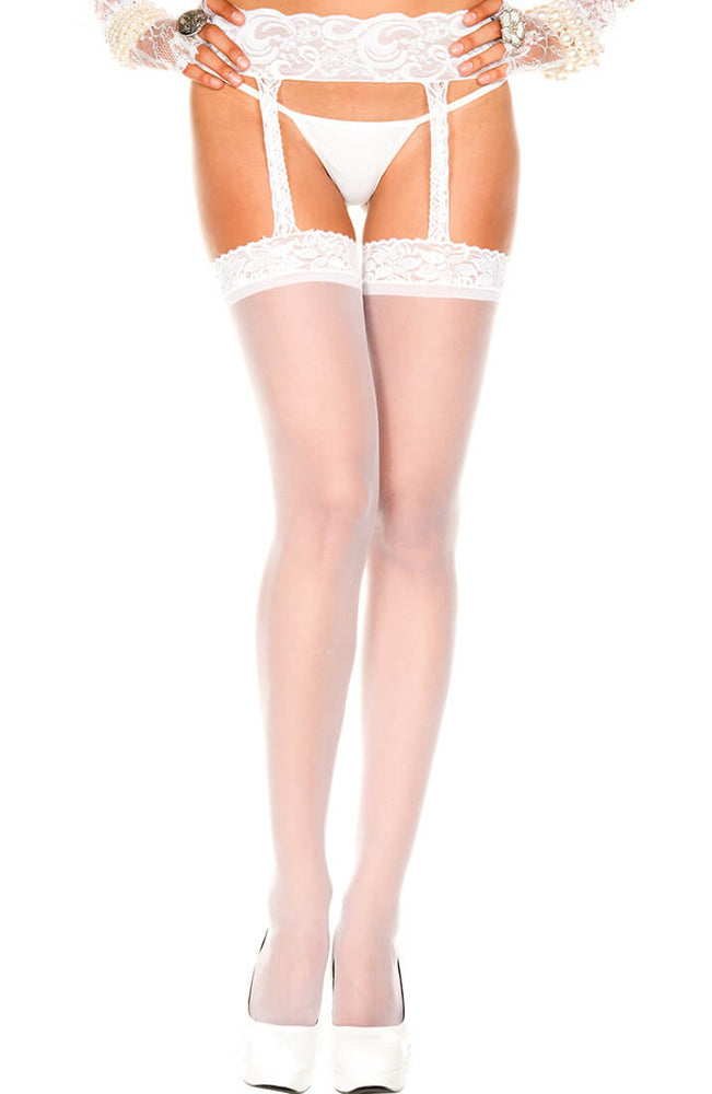 White stockings with garter belt