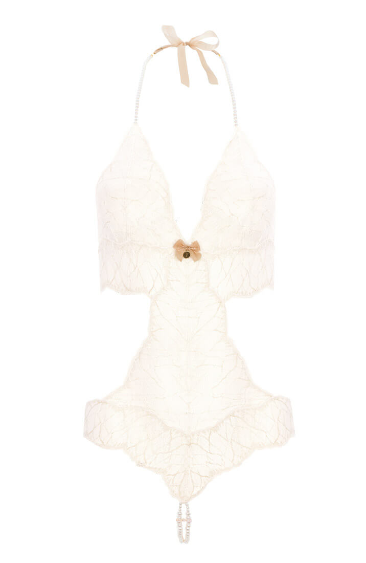 Ivory bodysuit with double pearl string - Sydney Body Double