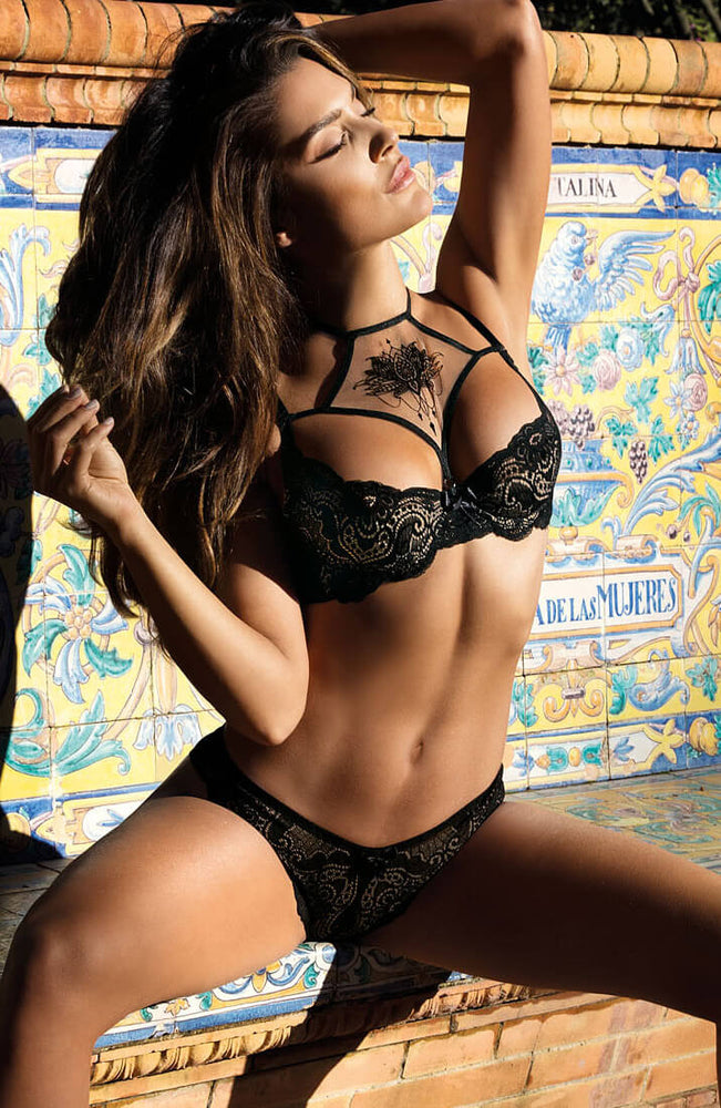ESCAPE - Black lace shelf bra