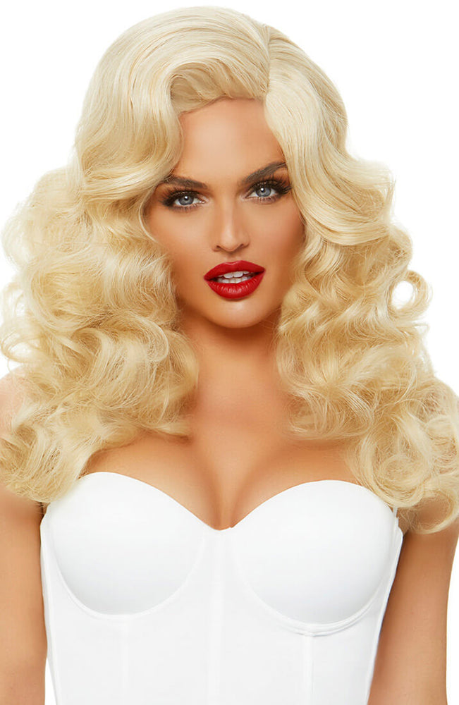 Long curly blond bombshell wig