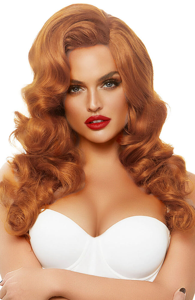 Long curly ginger bombshell wig