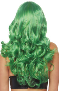 Long green wig with fringe