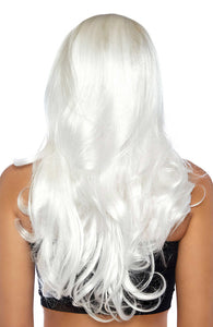 Long platinum white blond wig