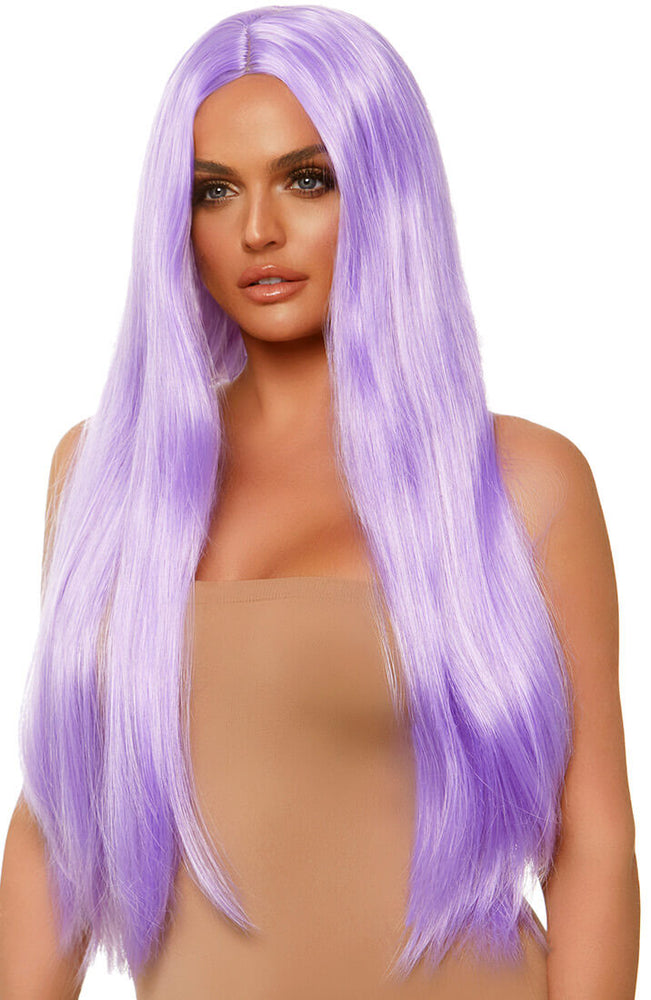 Long straight center part purple wig