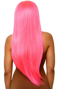 Long straight center part neon pink wig