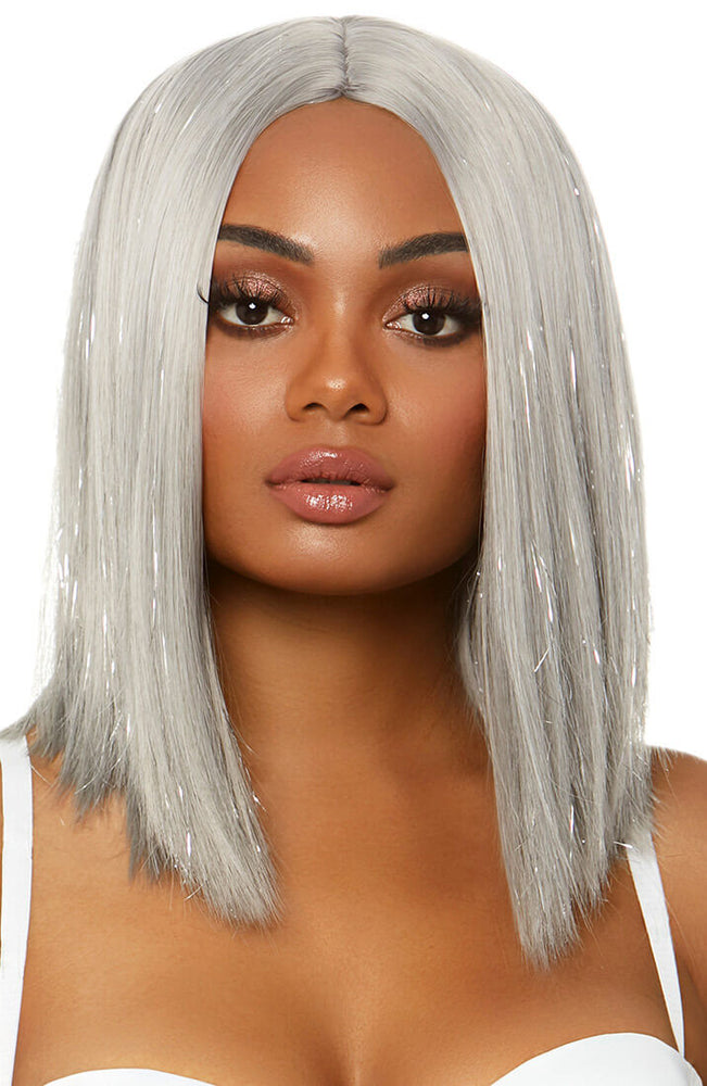 Long silver blond bob wig with tinsel