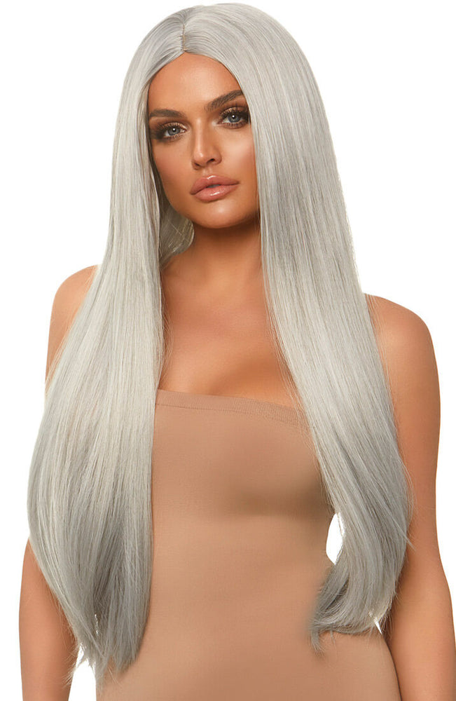 Long straight center part silver blond wig