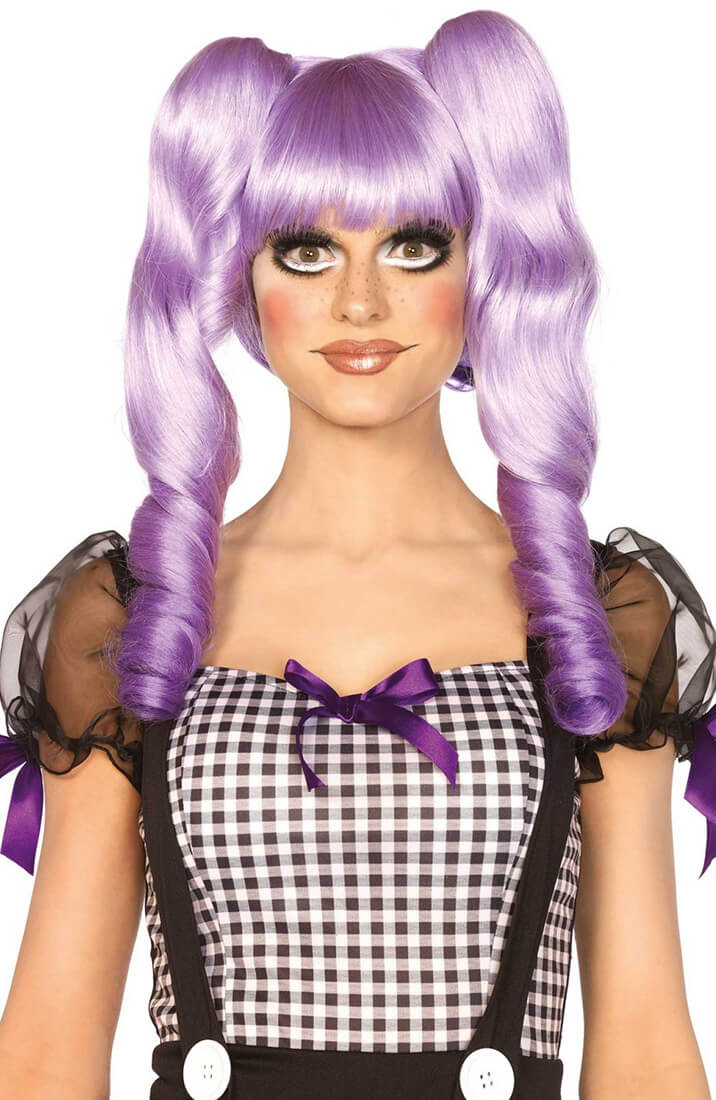 Purple Dolly Bob wig with pigtails
