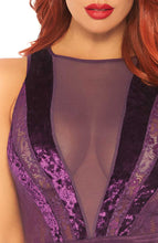 Load image into Gallery viewer, Purple velvet bodysuit - Purple Glam
