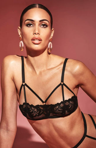 Black bra with cage-straps - London Bra