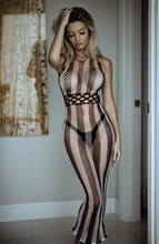Load image into Gallery viewer, Long striped halter neck net dress - Striped Love