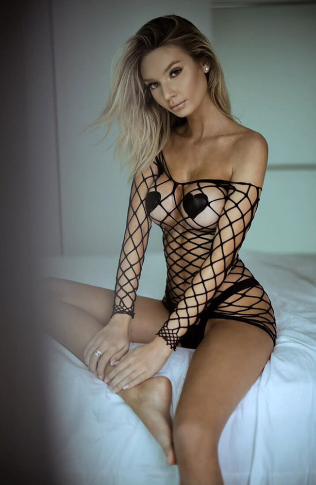 Black long sleeve crochet net dress