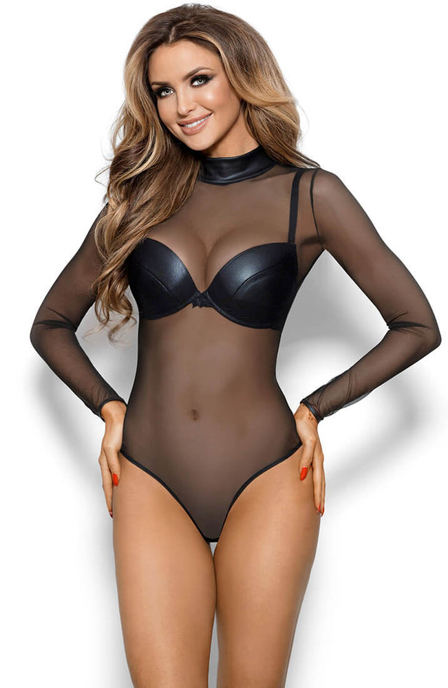 NONCHALANT - Black sheer mesh bodysuit