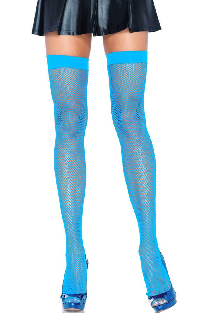 Neon blue fishnet thigh highs