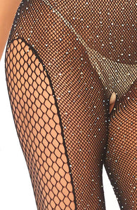 Fishnet catsuit with rhinestones - Crystalized Glam