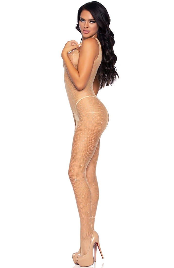 Nude fishnet bodystocking with rhinestones - Nude Sparkle