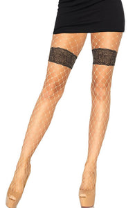 Nude fishnet pantyhose with faux garter