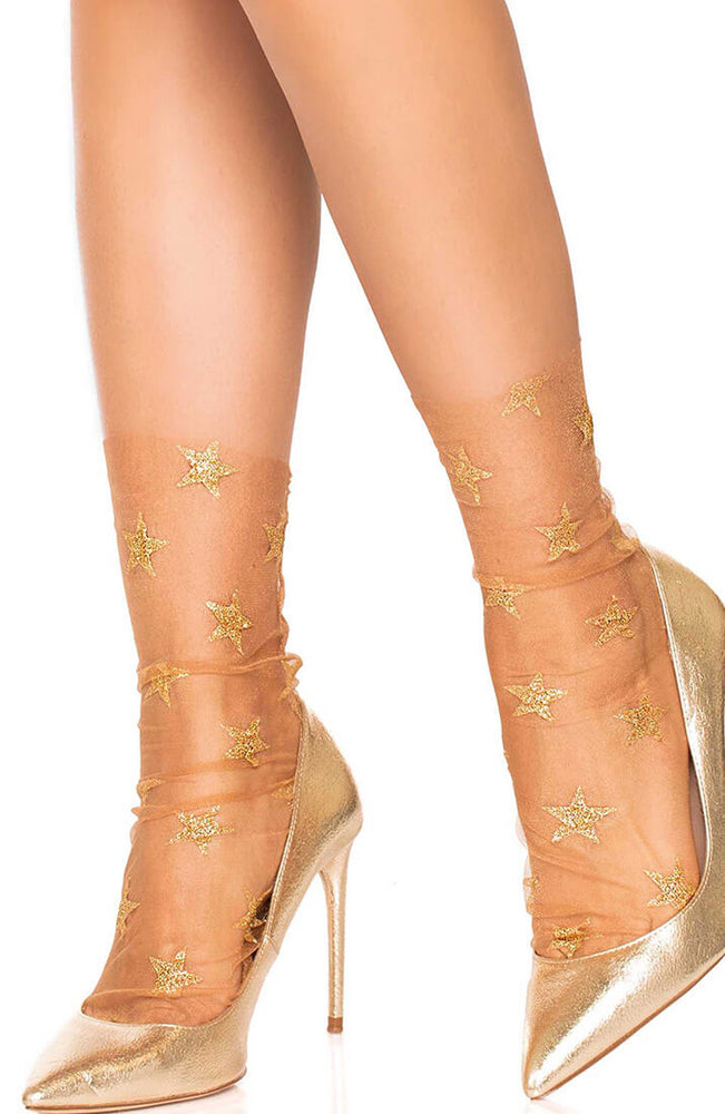 Gold glitter star tulle ankle highs