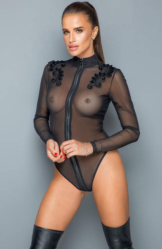 Zipped sheer mesh bodysuit with embroidery - Your Prerogative