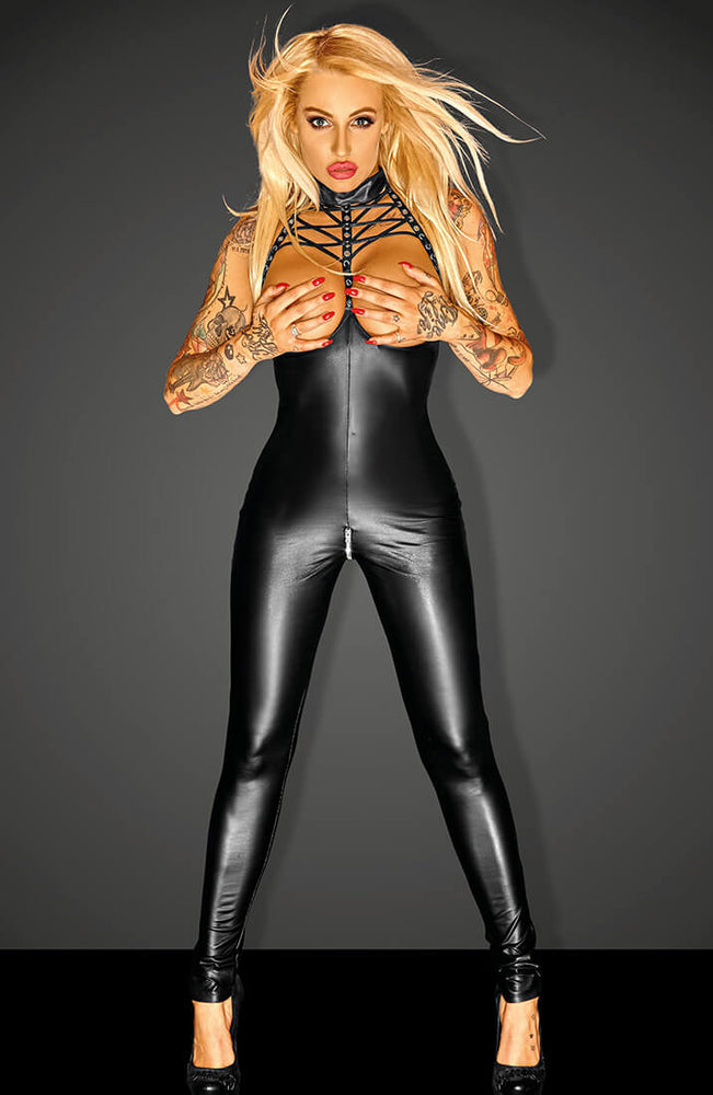 Open-cup wet look catsuit - SWAGGER