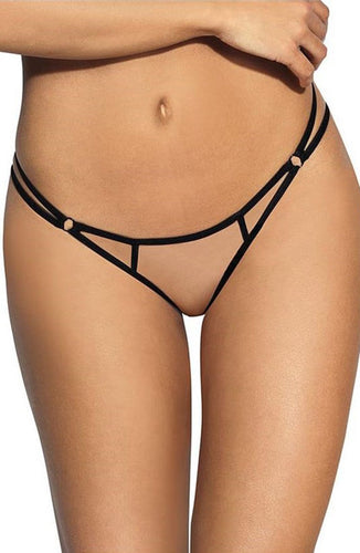 PRECIOUS - Transparent knickers with black lace