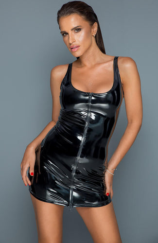 PVC mini dress with 2-way front zip - Rebellious