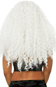 Long curly white wig