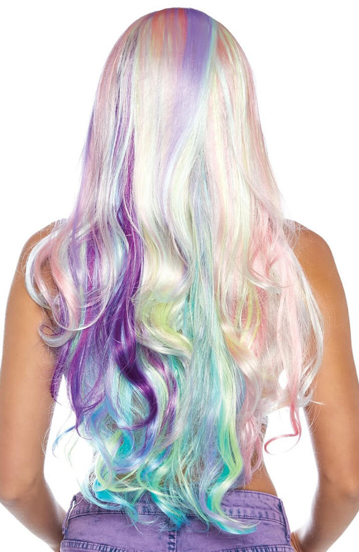 Pastel coloured wig with stripes