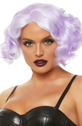 Purple curly bob wig
