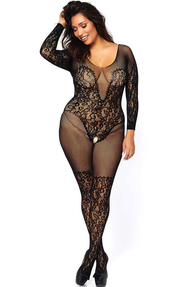 Plus size lace and fishnet bodystocking - Elegant Moments