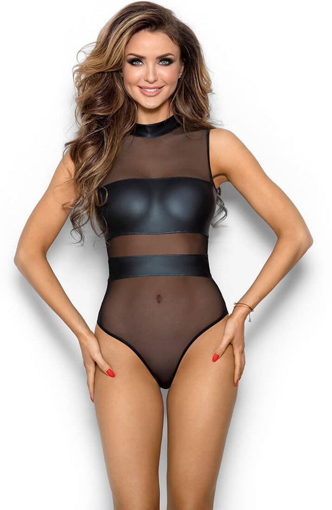RAVISHING - Black sheer mesh bodysuit with wet look