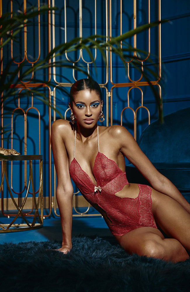 Red bodysuit with double pearl string - Sydney Body Double