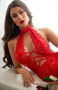 Red crotchless bodysuit - Seduce Me In Red