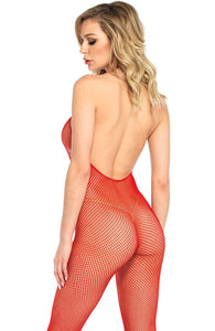Red crotchless fishnet bodystocking - Red Romance