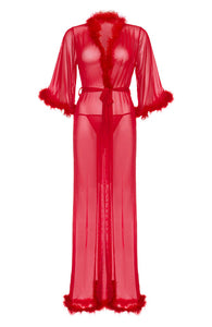 Red robe with marabou feather trim - Tender Love