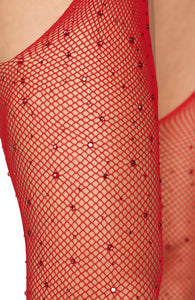 Red crystalized fishnet suspender pantyhose