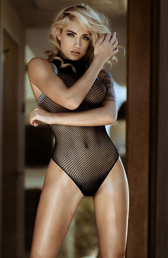 Black zip up fishnet bodysuit - Run For It