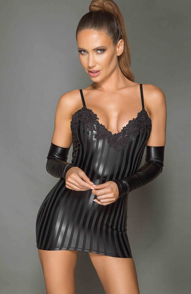 Black wet look mini dress - Impress Me