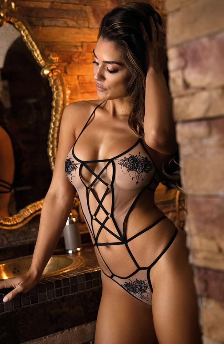 ALLURE - See-through strappy bodysuit