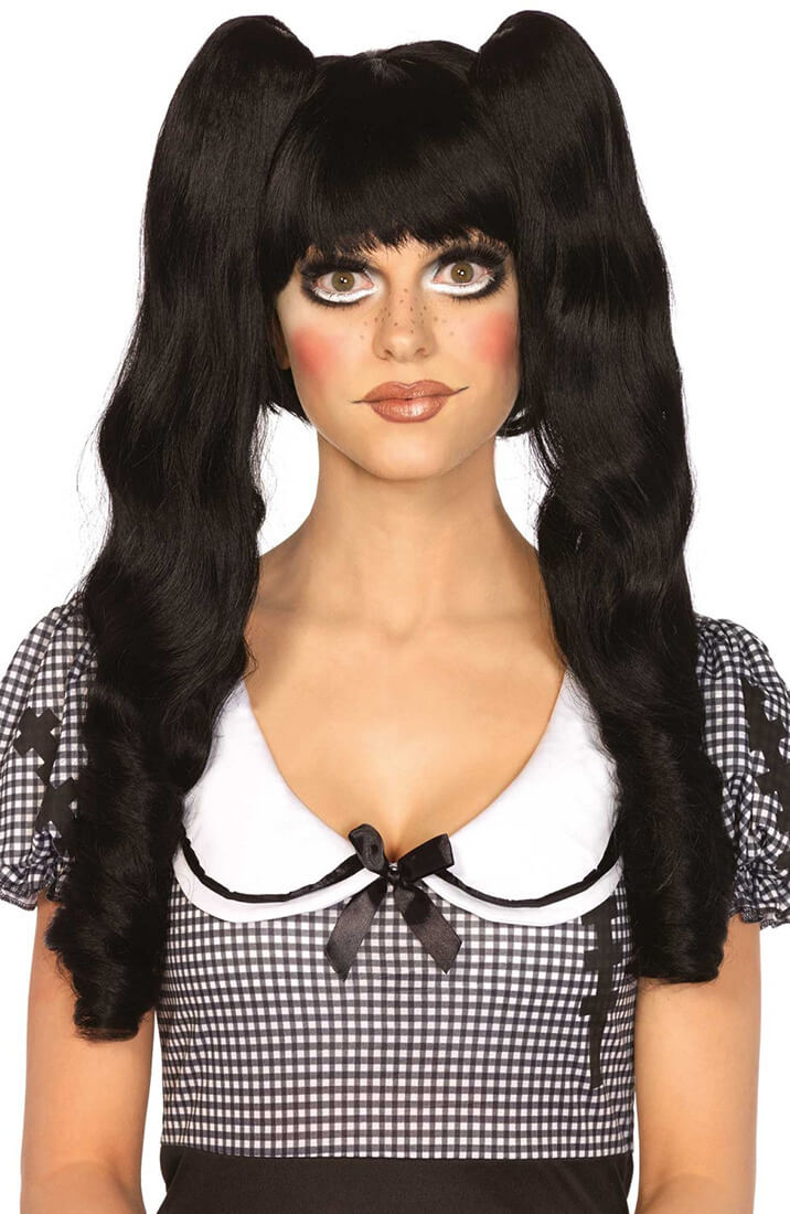 Black Dolly Bob wig with pigtails