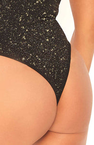 Black bodysuit with gold shimmer - Sparkle Squad