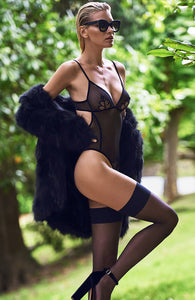 Black bodysuit with pearl string - Kyoto Body