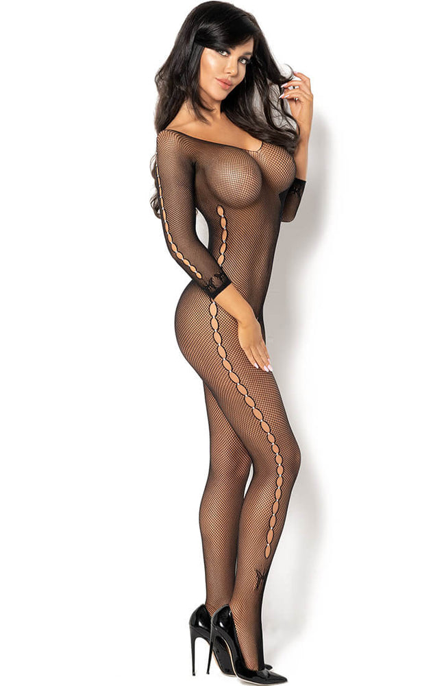 Crotchless fishnet bodystocking with rhinestones - Martha