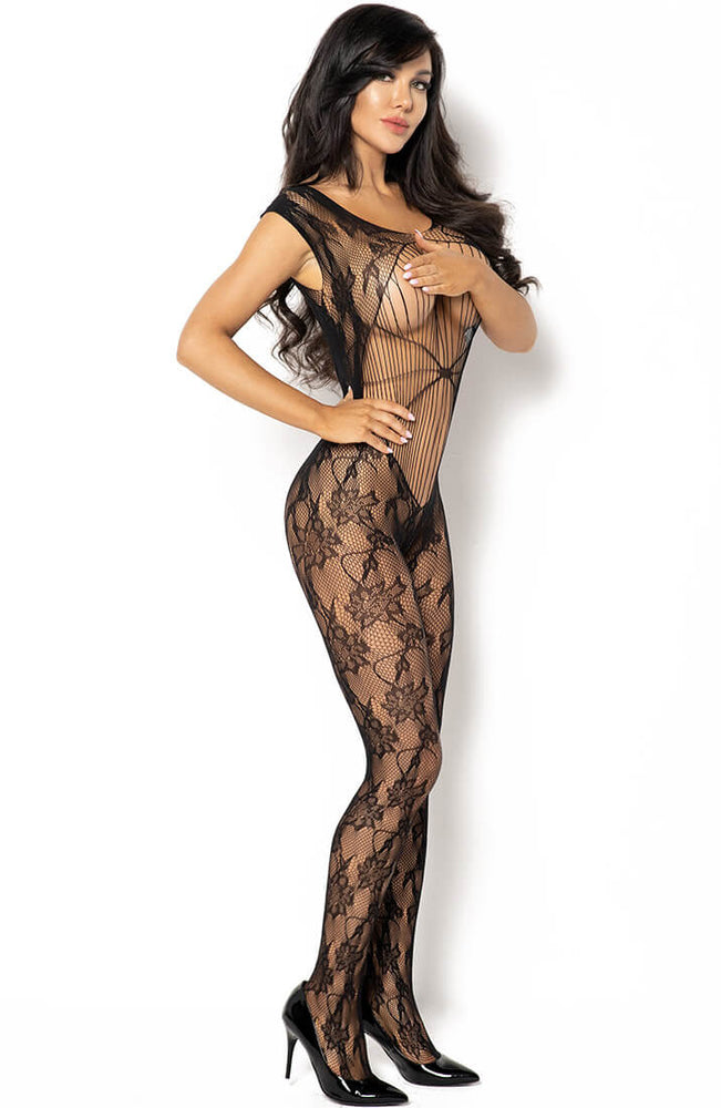 Black bodystocking with straps and floral pattern - Kiara