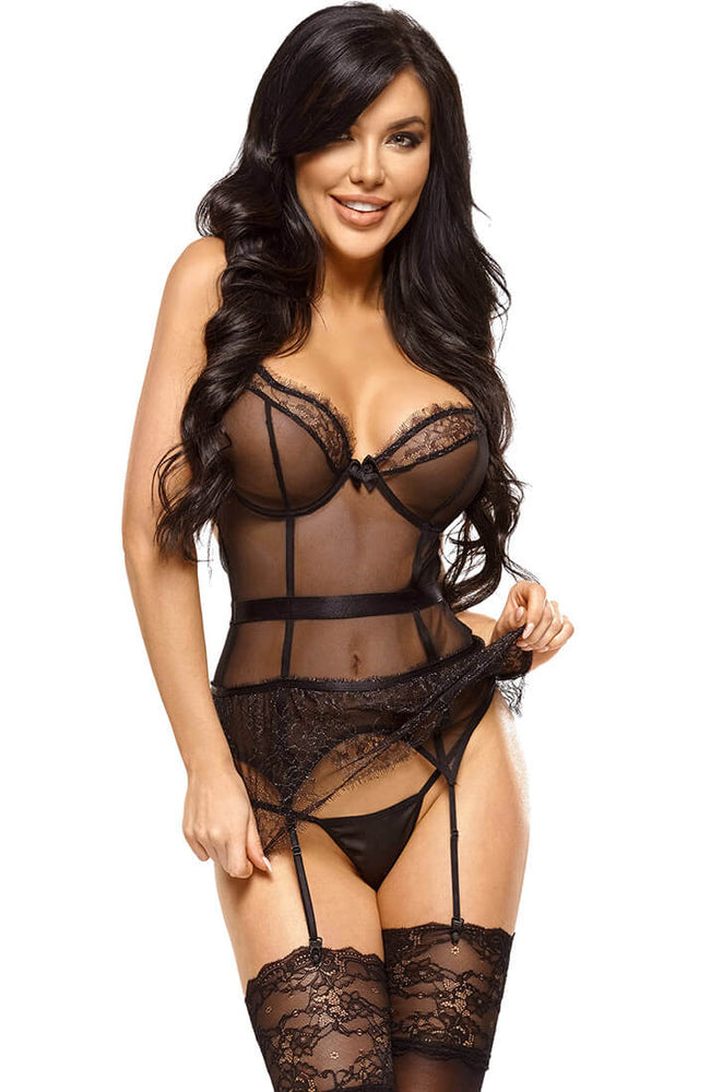 Black bustier with suspenders - Imani