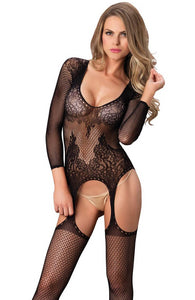 Bodystocking with suspender look - Floral SuspenderBodystocking with suspender look - Floral Suspender